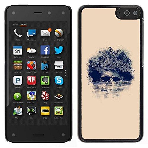 All Phone Most Case / Carino Immagine Rigida Custodia Duro protettiva Caso Cellulare Cassa / Hard Case for Amazon Fire Phone // Floral Butterfly Skull