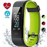 EDLUX Fitness Armband Smartwatch Pulsmesser Touchscreen 115 Plus Activitätstracker mit Herzfrequenz, Schlafmonitor, Wasserdicht IP68 Bluetooth 20 Modi Tracker für Android IOS Handy, Schwarz Grün