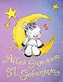 Alles Gute zum 37. Geburtstag: Niedliches Einhorn auf dem Mond geburtstagsbuch, das als Tagebuch oder Notizbuch verwendet werden kann. Besser als eine Geburtstagskarte!