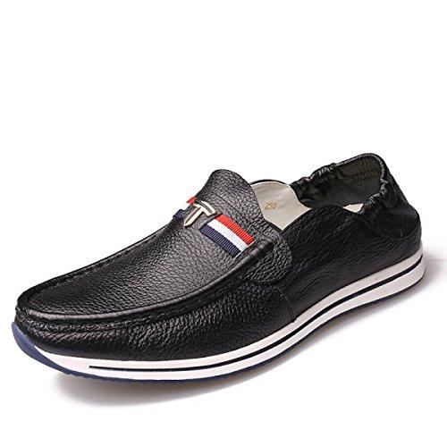 GRRONG Chaussures En Cuir Pour Homme En Cuir Véritable Loisirs Noir Blanc Jaune Black