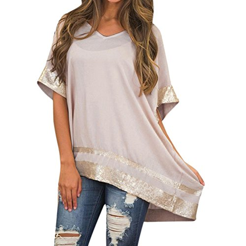 VJGOAL Damen T-Shirt, Damen Mode glänzende Flüssigkeit Wet Look Sommer Weste lose Tops Camisole für Club Bluse Tanks (M, Pink)