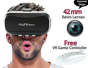 AuraVR Pro Fully Adjustable VR Glasses Headset with Remote Controller - 42mm