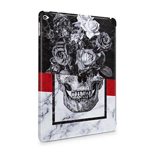 Floral Skull Black & White Marble Stone
