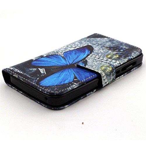 Coque pour iPhone 5 5S, Etui pour iPhone 5 5S, ISAKEN Peinture Style PU Cuir Flip Magnétique Portefeuille Etui Housse de Protection Coque Étui Case Cover avec Stand Support et Carte de Crédit Slot pou Papillon Bleu