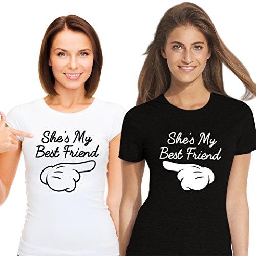 *Best Friends Passende Kurzarm Shirt Für 2 Damen mit Lustige Aufdruck She`s My Best Friend von VivaMake®*