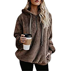 Vertvie Damen Hoodie Kapuzenpullover mit Kapuze und einfarbigen Pullovern Casual Winter Teddy-Fleece Langarm Oversize Sweatshirt Mantel Tops Mit Kapuze(A-Braun, XL)