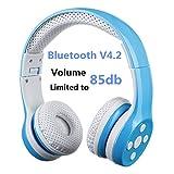Bluetooth Kopfhörer Kinder, Hisonic Bluetooth Kopfhörer für Kinder mit Mikrofon Sportkopfhörer Hi-Fi Audio Lautstärkebeschänkung Over Ear Stereo Bügelkopfhörer. (Blau)