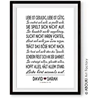 ABOUKI Traumpaar Nr. 9 - Das Hohelied der Liebe, Korinther, personalisierter Kunstdruck - ungerahmt - mit Wunschnamen auf Deutsch oder Englisch, Fine-Art-Print, Poster, Hochzeitsgeschenk, Geschenkidee