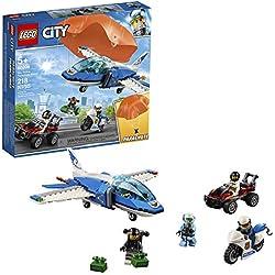 LEGO® - City Police Policía Aérea: Arresto del Ladrón Paracaidista, juguete de aventuras para construcción con paracaídas, avión y moto, Multicolor ES 60208)