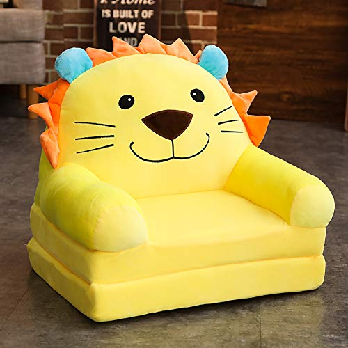 WAYERTY Children's armchair, Children sofa Cartoon Girl and boy Birthday gift Toy Lazy Upholstered Cute Baby Small sofa Seat Kid chair Washable-yellow 50x40x45cm(20x16x18inch)