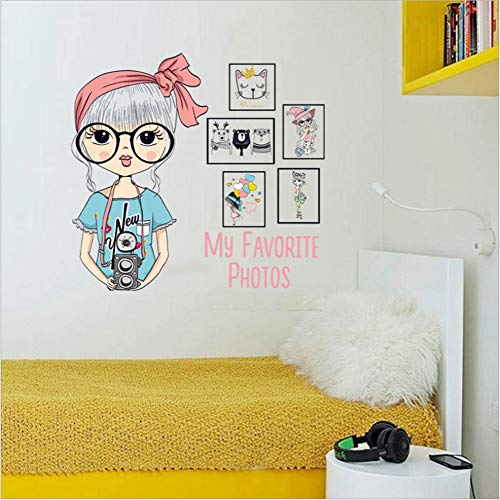 Big Glasses Girl Photo Frame Bedroom Study Dormitory Wall Decorative Wall Sticker Mural 45 * 60Cm