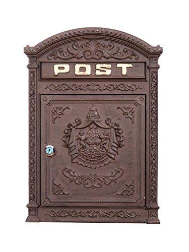 Briefkasten Wandbriefkasten Alu Nostalgie Postkasten braun antik Stil letterbox - 3