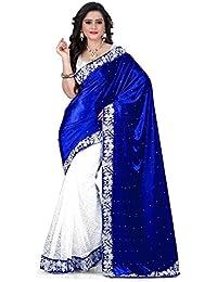 Dharmi Enterprises Velvet Saree (Blue Velvet_Blue)
