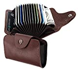 #5: nisun 13 Slot Leather Credit Card Holder Case Wallet With 2 Money Pocket Button closure - Brown