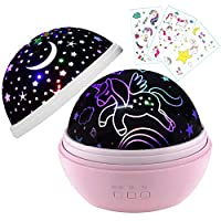 Kids Gift for 1-10 Years Old,Baby Gift,Star Night Light,Nursery Gift,Kids Gift with 3 Unicorn Temporary Tattoos