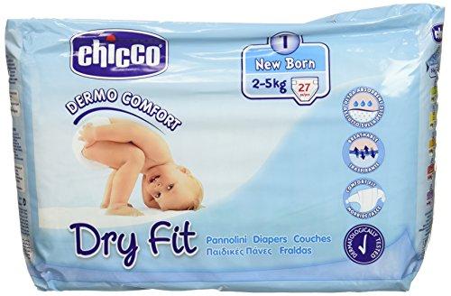 Chicco, Pannolini per neonati Dry Fit, 2-5 kg, 3 confezioni da 27 pezzi