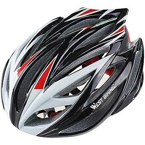 West ciclismo Super luz integral para bicicleta de carretera casco un Tamaño/Talla L, Niño unisex juventud Mujer hombre, color negro y rojo, tamaño One Size(56-61cm)
