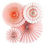 Sundlight Party Fans Pink Paper Fans Decoration for Party Birthday Events Wedding and Home Set of 4