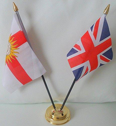 West Yorkshire Ridings der Union Jack-Flagge, Freundschaft Tabelle 2-Kopf mit goldfarbenem Sockel -