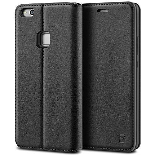 BEZ Hülle für Huawei P10 LiteHülle, Handyhülle Kompatibel für Huawei P10 LiteTasche Case Schutzhüllen aus Klappetui mit Kreditkartenhaltern, Ständer, Magnetverschluss, Schwarz