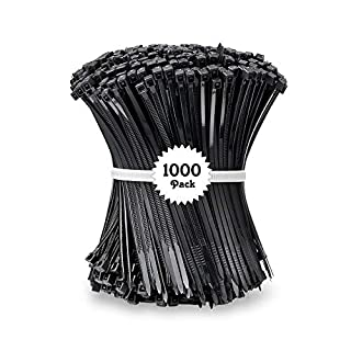 Beshine Cable Ties, Pack 1000 100mm x 2.5mm Heavy Duty Self Locking Nylon Zip Ties for Home Office Garage and Workshop - Black