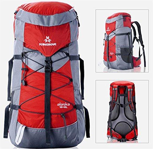 borsa trekking sacchetto rampicante esterno 40 + 10L zaino tracolla uomini e donne borsa ( Colore : Giallo , dimensioni : 40+10L ) Rosso