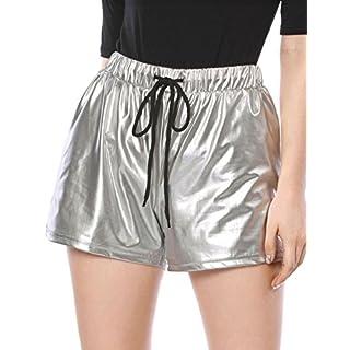 Allegra K Damen Kordelzug Elastische Taille Metallisch Shorts L/Silber