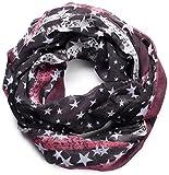 NavyBlu® Loop Schal Schlauchschal mit Stern Design - weiche und warme Qualität schwarz A08