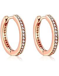 1a51ef8371ce Presenski Rose Gold Creolen Damen, Kleine Earrings Kreis Ohrringe Silber 925  Creolen Zirkonia Earrings Geschenke…