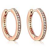 Presenski Rose GoldCreolen Damen, Kleine Earrings Kreis Ohrringe Silber 925 Creolen Zirkonia Earrings Geschenke für Mama Frauen