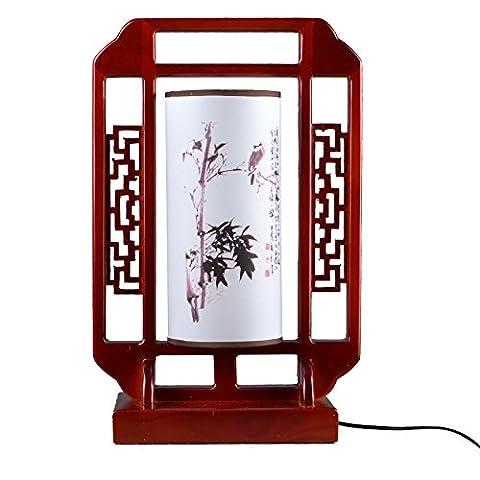 XY&GKLampes de table chinoise en bois en bois parchemin ancien salon chambre à coucher classique de lampes de chevet et d