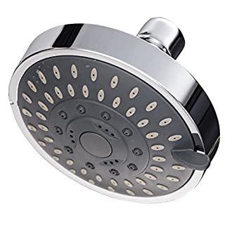 4-Inch Rainfall High Pressure Shower Head,Luxury Spa Fixed Showerhead,Adjustable Swivel Joint, 5 Spray Settings Fits Shower Arm Cylindrical Thread Outer Diameter 19 mm