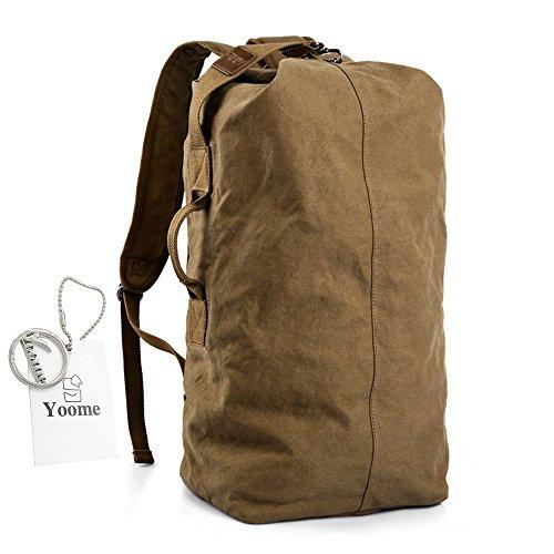 Yoome tamburo tela zaino grande capacità per gli uomini zaino 16 pollici computer portatile dayback impermeabile corsa di viaggio escursioni alpinismo alpinismo weekend borsa - 60cm nero Cammello 60CM