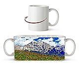 Blumenwiese in den Alpen Effekt: Zeichnung als Motivetasse 300ml, aus Keramik weiß, wunderbar als Geschenkidee oder ihre neue Lieblingstasse.