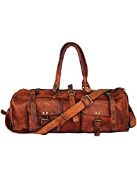 97b589948c pranjals house Unisex Leather 20 Inch Brown Short Trip Travel Duffel Bag Gym  Bag