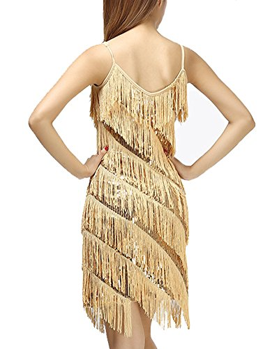 Damen Elegant Abendkleid Festlich Kleid Glitzer Vintage Ärmellos Tanz Kleider Aprikose Gold Einheitsgröße - 2