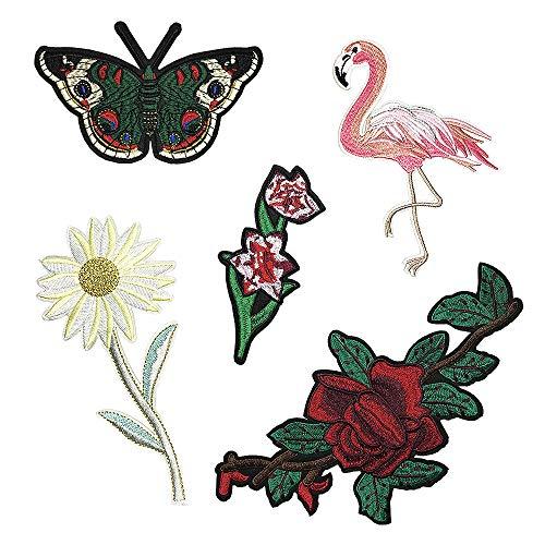 Juland 5 PCS Blume Vogel Schmetterling Bestickte Patches Selbstklebend Gestickte individuelle Rucksack-Aufnäher für Männer, Frauen, Jungen, Mädchen, Kinder