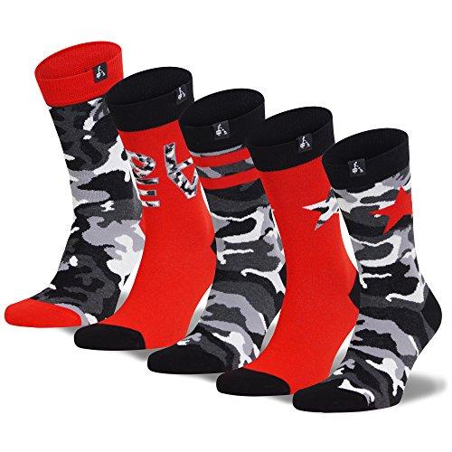 DZZD - Stylische Herrensocken im 5er Pack - Hochwertige Baumwolle - Bunte Streetwear-Socken im coolen Camo-Muster - Set 2 - Größe 39-42 (Outfits Männer Sexy Finden)