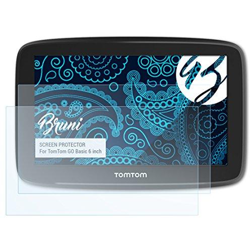 Bruni Schutzfolie kompatibel mit Tomtom GO Basic 6 inch Folie, glasklare Bildschirmschutzfolie (2X)