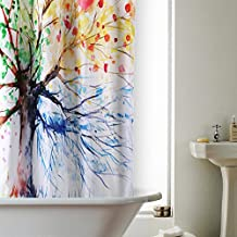 Cortina de Ducha 180x180cm, RUVALINO Impermeable Cortinas Baño impresión 3D Gran Diseño Árbol Colorido