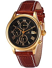 KS KS149 - Reloj para hombres, correa de cuero color marrón