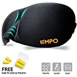 EMPO® Eye Mask / Sleep Mask Soft Memory Foam Contoured with Free Ear Plugs - LIFETIME WARRANTY - Sleep Deeply Anywhere Anytime - Two SoftMAX© Adjustable Straps to Fit All Head Sizes - Ultra Lightweight and Comfortable - Allows You to Blink & Breathe Freely - Wake Up Completely Refreshed - Helps with Migraines/Insomnia, Perfect for Travel, Shift Work and Meditation - Black