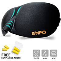 EMPO® Sleep Mask Soft Memory Foam Contoured Eye Mask with Free Ear Plugs - LIFETIME WARRANTY - Sleep Deeply Anywhere Anytime - Two SoftMAX© Adjustable Straps to Fit All Head Sizes - Ultra Lightweight and Comfortable - Allows You to Blink & Breathe Freely - Wake Up Completely Refreshed - Helps with Migraines/Insomnia, Perfect for Travel, Shift Work and Meditation