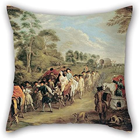 Loveloveu 18 X 18 Inches / 45 By 45 Cm Oil Painting Watteau, Jean-Antoine - Soldiers On The March Throw Pillow Covers,twice Sides Is Fit For Monther,wedding,office,him,husband,teens