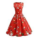 Weihnachten Kleid Damen Spitzenkleid Elegant Ärmellose 3D Print Xmas Grosse grössen Satin sexy Knielang Cocktailkleid Swing Panel Kleider ABsoar
