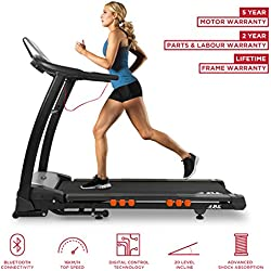 JLL S400 Digital Folding Treadmill, 2018 New Generation Digital 4.5HP Motor, Expansive Running Area, 20 Level Incline, 15 Running Programmes, Optimised Speakers, Bluetooth, USB and AUX, 16 Point Cushion Deck, 5.5-Inch LCD Display