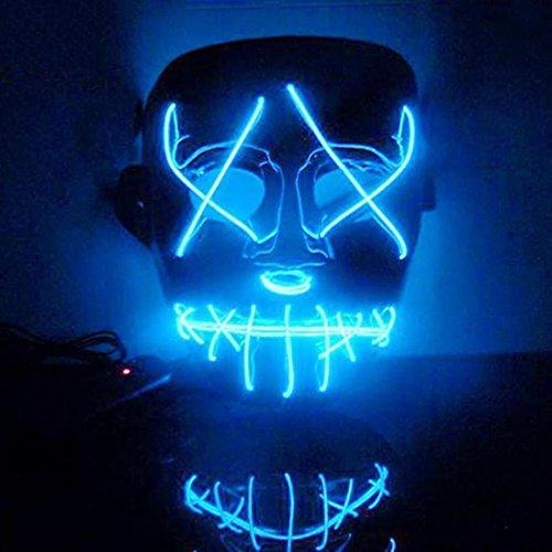 Kostüm Raver Halloween - Upxiang Creative EL Mask, Halloween Horror leuchtende Maske, EL Draht DJ Party Festival Halloween Kostüm LED Maske Kostüme Mask Weihnachten Tanzen Party Nacht Pub Bar Klub (Blau)