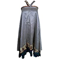 Mogul Bohemian Ladies Handmade Reversible Magic Sari Silk Wrap Around Boho Skirt, Dress
