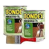 Bondex Bangkirai-Öl, 1,5 Liter inkl. Pinsel - Schutz- und Pflegeöl für Aussen, Gartenmöbel und Terrassenöl