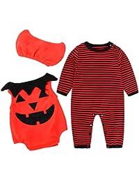 Disfraz Halloween Bebe Ropa SMARTLADY Recién nacido Niño Niña Calabaza Mono + Sombrero de bruja 3PC/ Conjunto Otoño Invierno Ropa